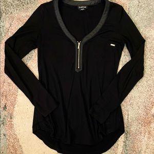 Bebe Black Long Sleeve Half Zip Top w/ Leather Accent XS